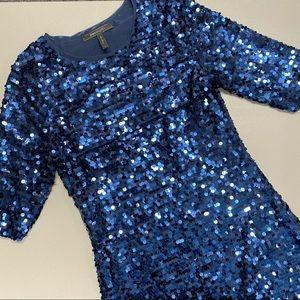BCBG MaxAzria Marta Sequin Dress Short Sleeve Blue